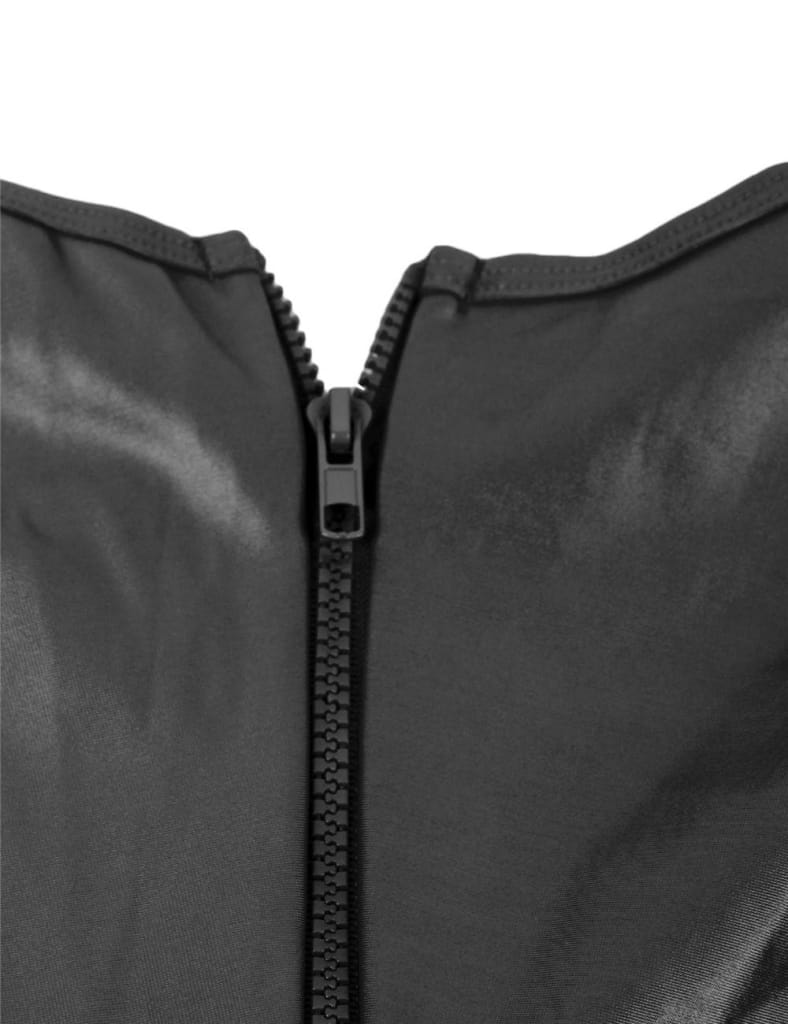Plus Size Black Leather Open Bust Teddy