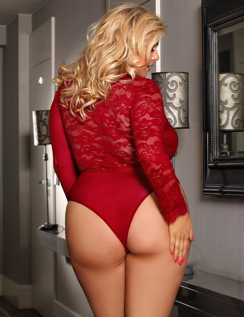 Plus Size Eyelashes Lace Open Chest Long Sleeved Teddy