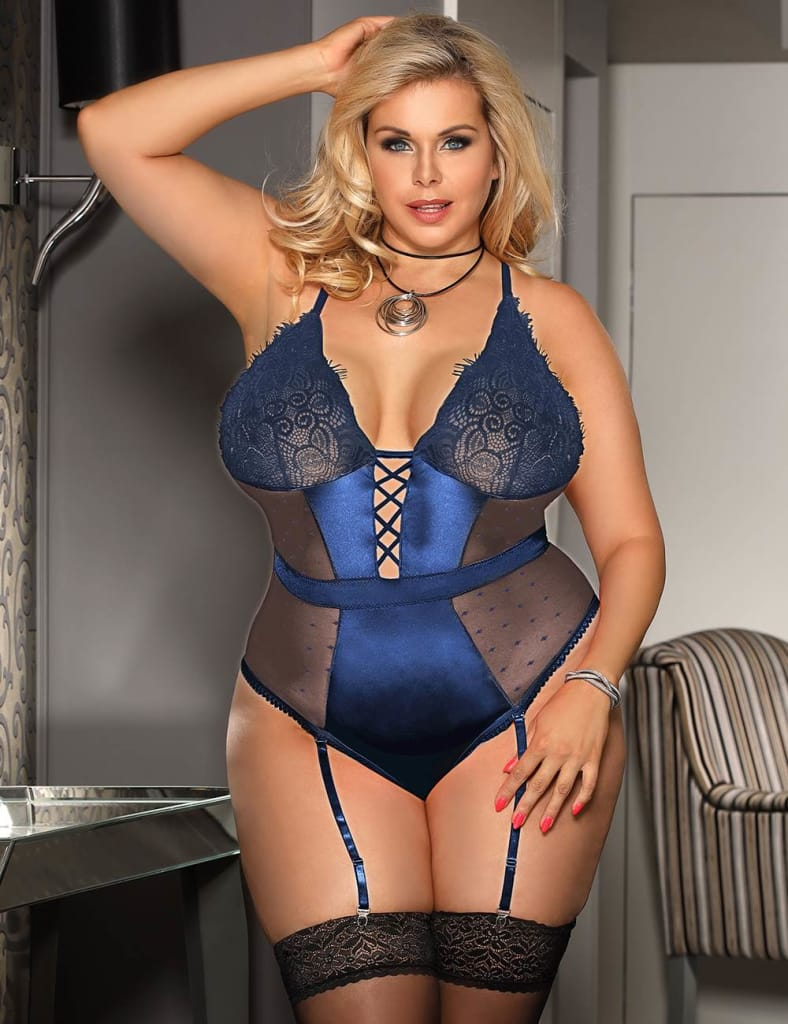 Plus Size Blue Satin Lace Stitching Teddy With Garter