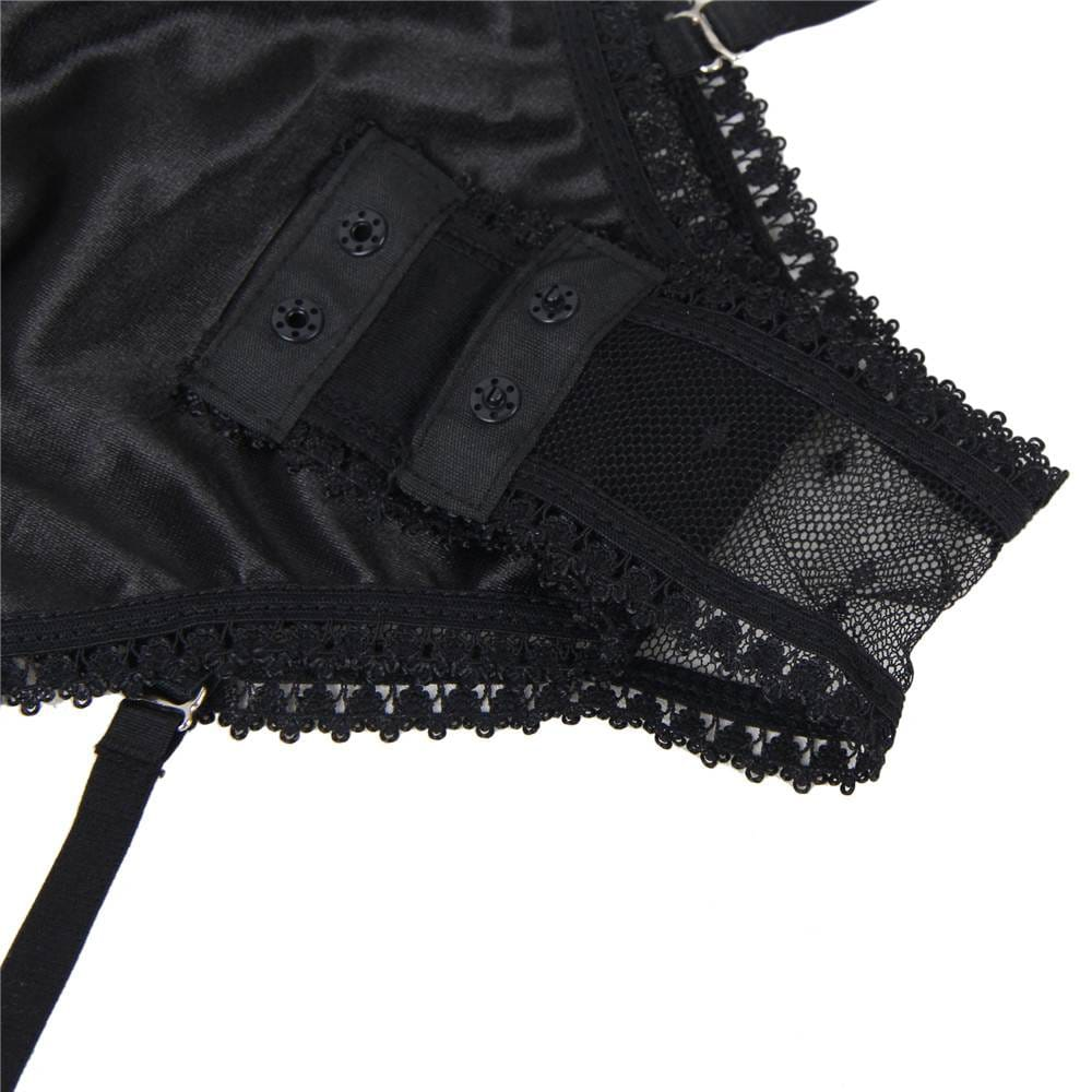 Plus Size Black Satin Lace Stitching Teddy With Garter