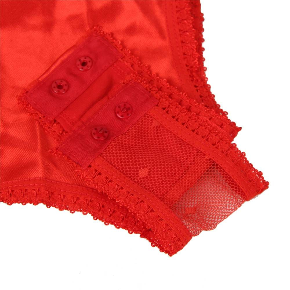 Plus Size Red Satin Lace Stitching Teddy With Garter
