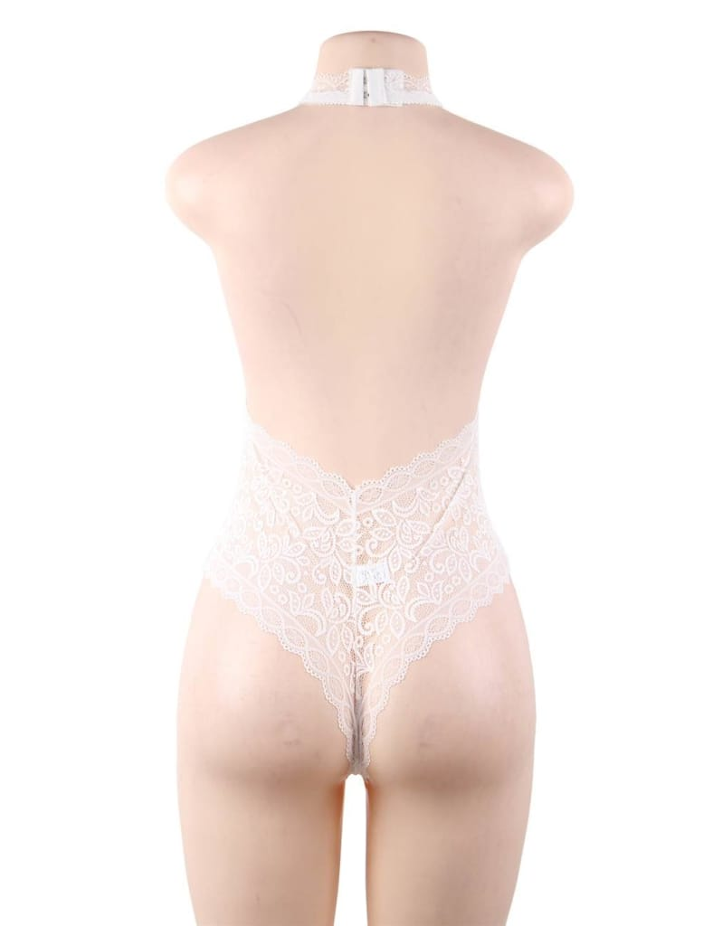 Plus Size White Exquisite Lace Open Cup Teddy
