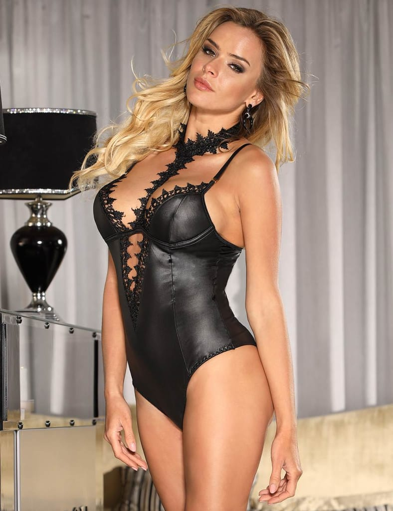 Black Leather Exquisite Lace Choker Neck Teddy