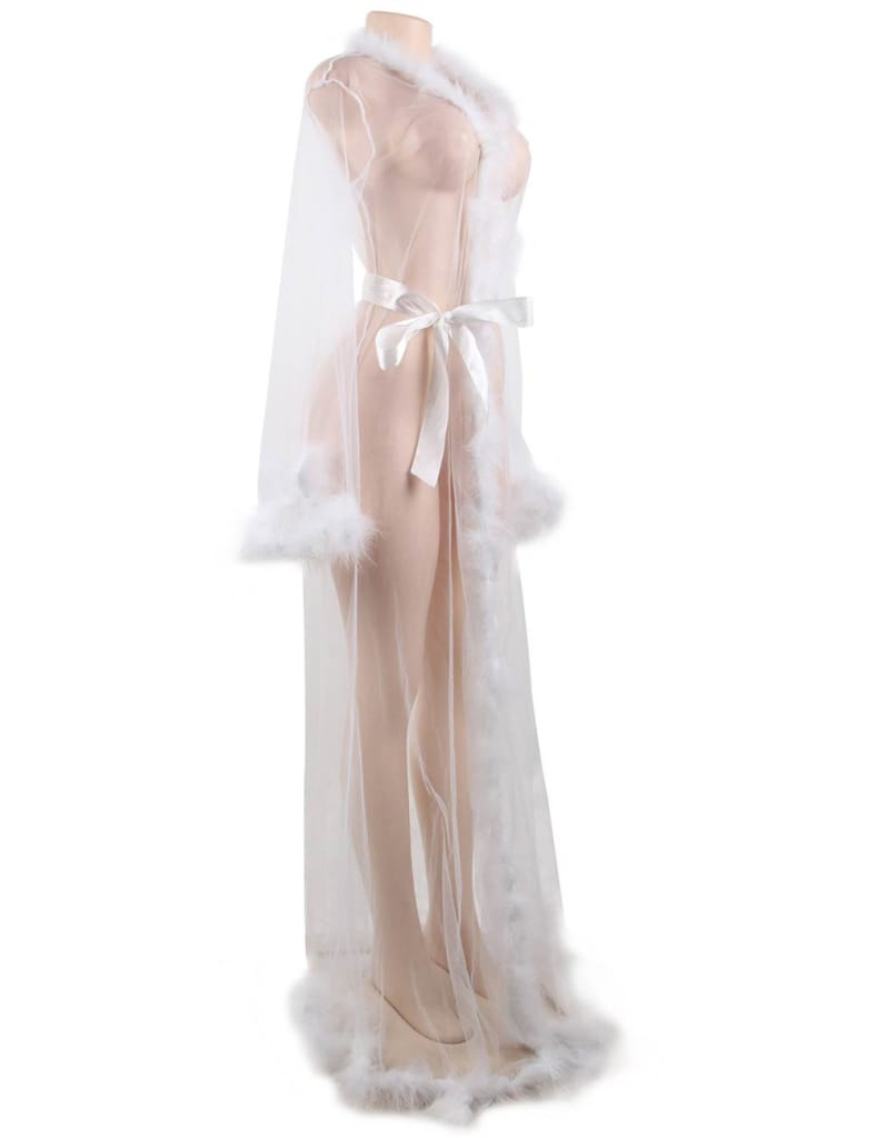 Plus Size Queen White Robe Perspective Sheer Sleepwear With