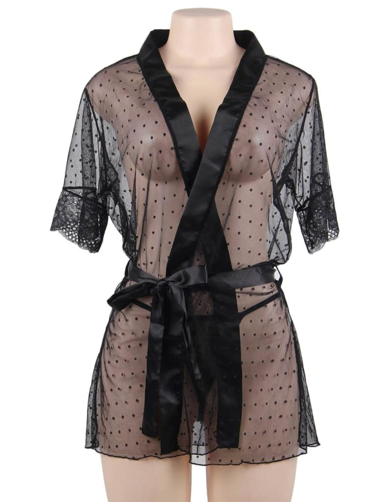 Plus Size Black Sexy Mesh Sheer Lace Robe Nasty Lingerie