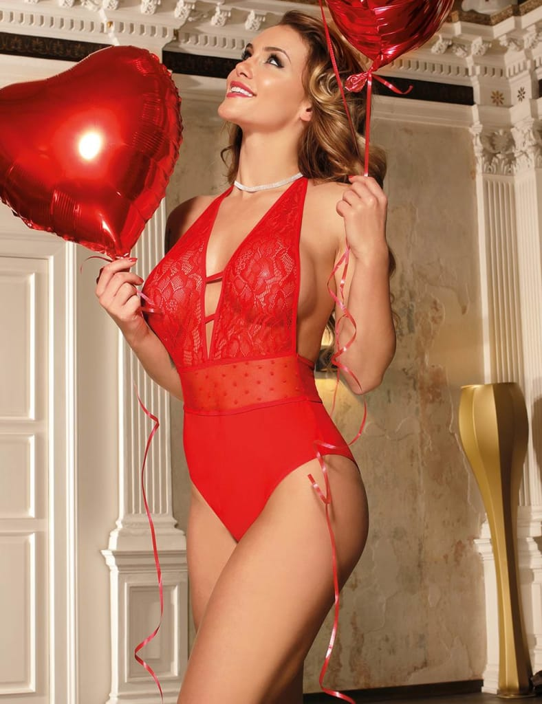 Red High Quality Lace Stitching Sexy Teddy