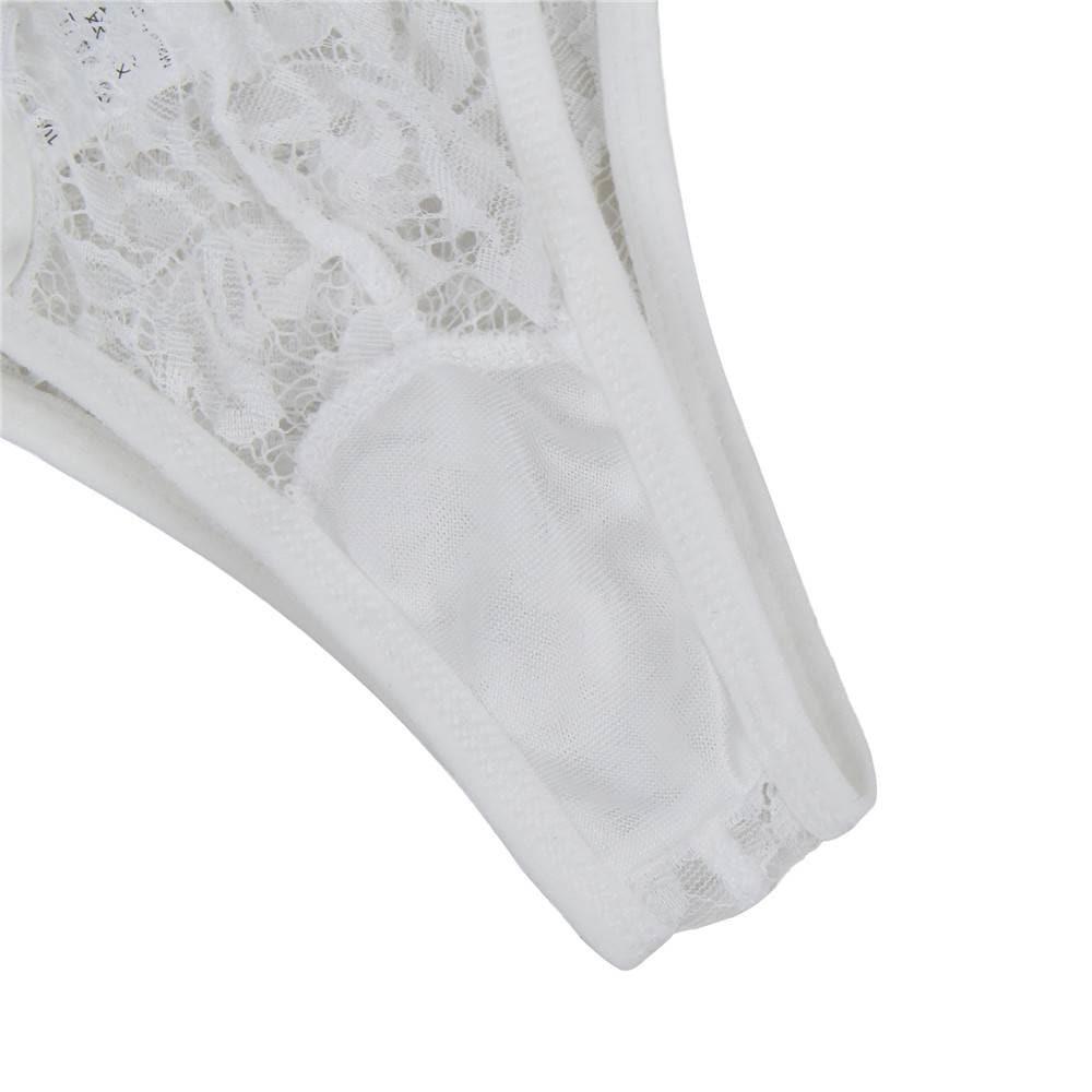 Plus Size White Floral Embroidery Sheer Mesh Lingerie Set