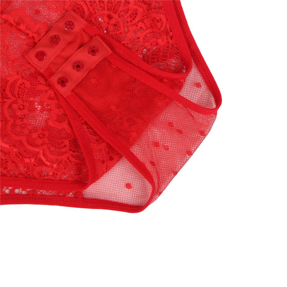 Plus Size Red Deluxe Lace Stitching Teddy