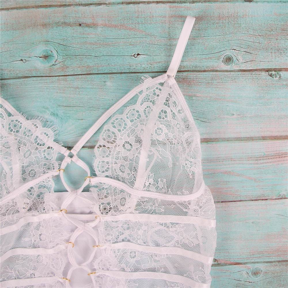 White High Quality Lace Sexy Hollow-out Conjoined Underwear