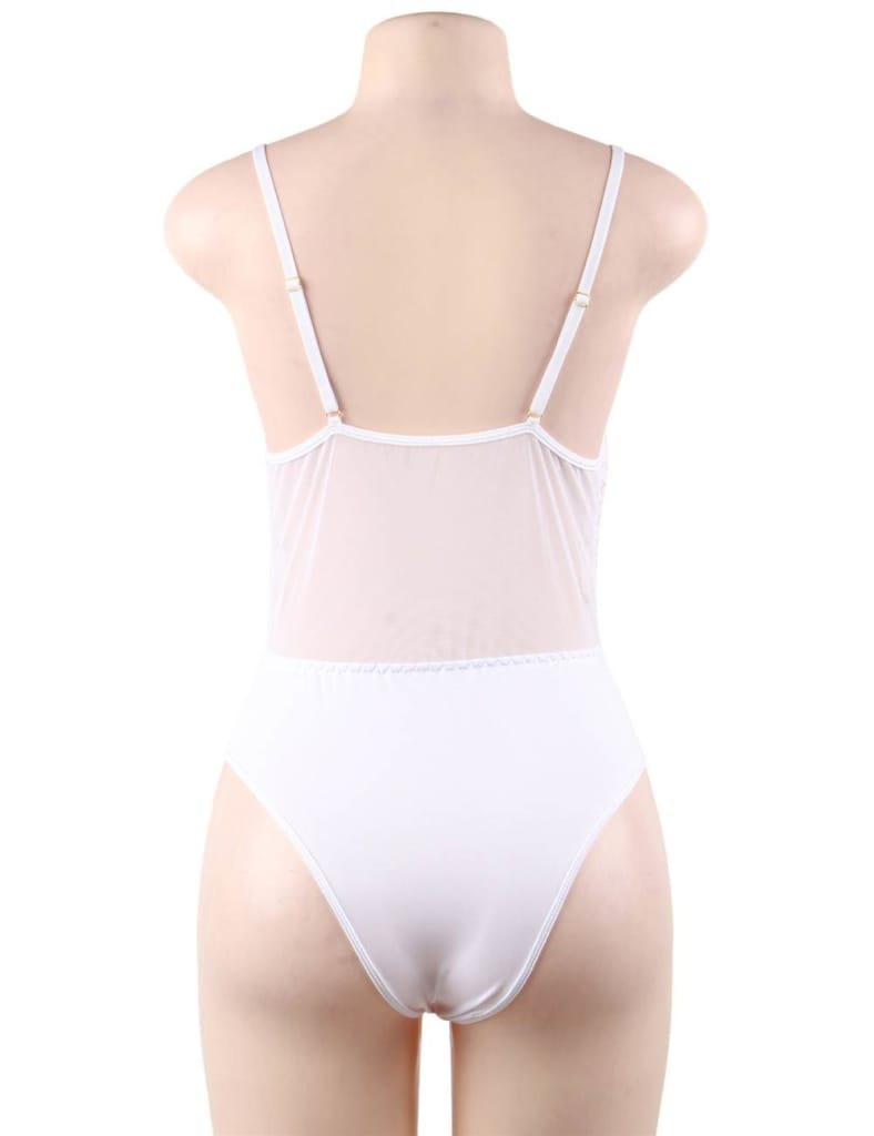 Plus Size White High Quality Lace Sexy Hollow-out Conjoined