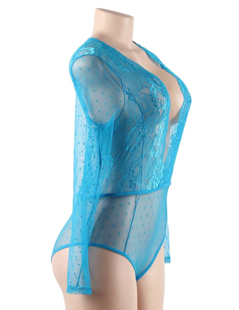 Blue High Quality Lace Stitching Long Sleeve Sexy Teddy