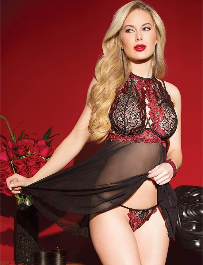 Black Red Stitching Lace Perspective Babydoll