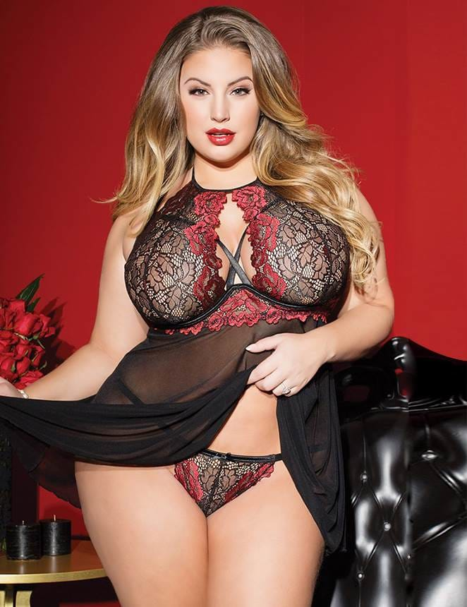Plus Size Black Red Stitching Lace Perspective Babydoll