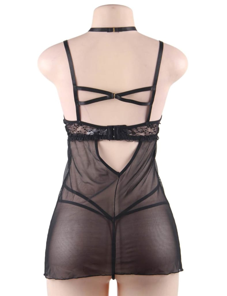 Elegant Black Lace Hanging Neck Perspective Sexy Babydoll