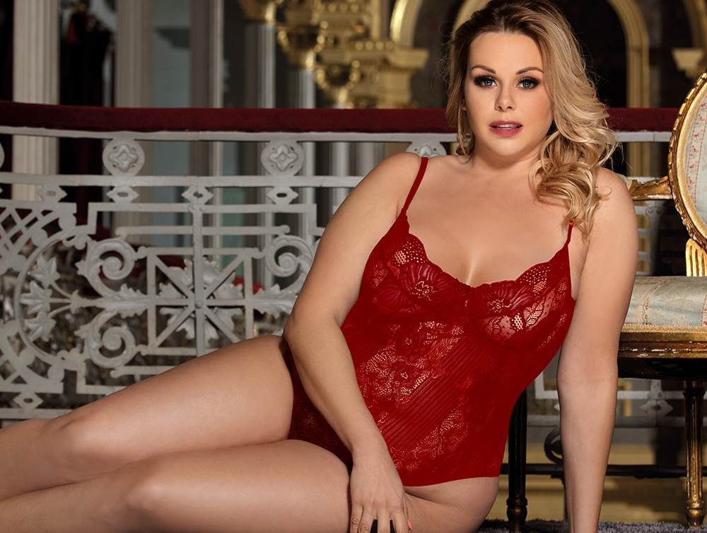 Plus Size Wine Red Glamour Underwire Sheer Lace Teddy