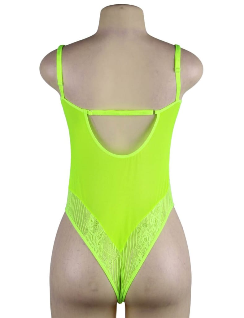 Chartreuse Glamour Underwire Hollywood Sheer Lace Teddy With