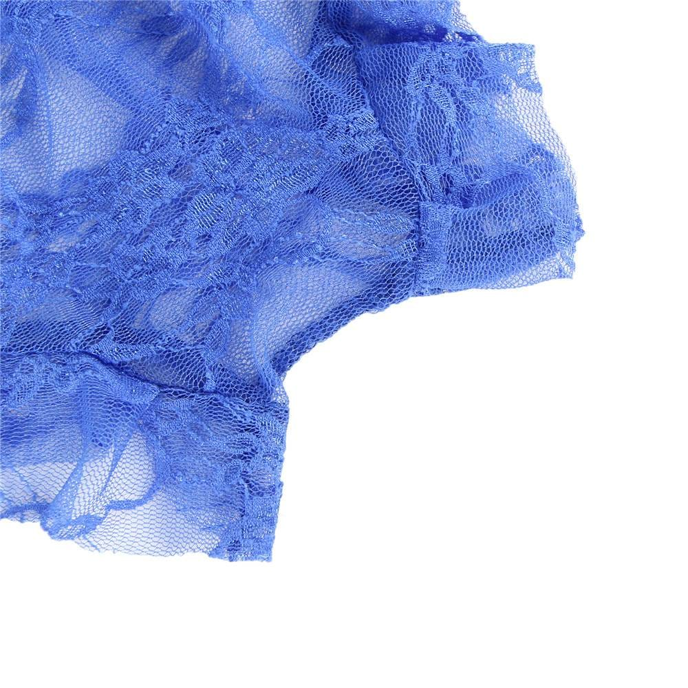 Plus Size Perspective High Waist Blue Full Lace Bra and