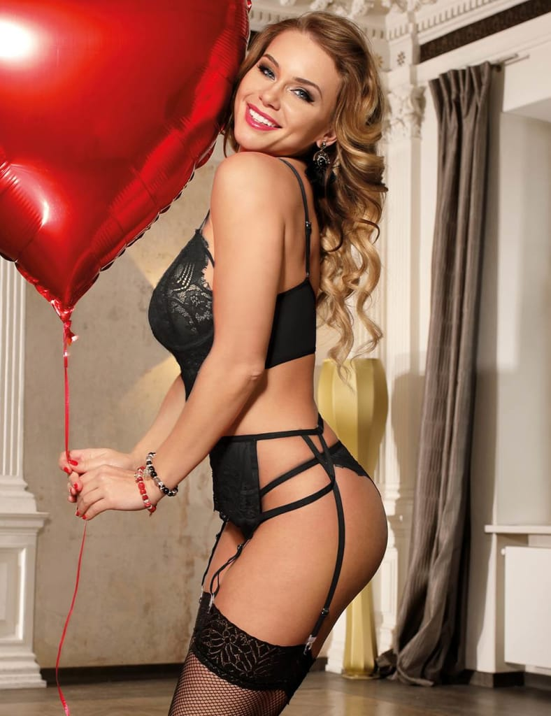 Black Lace Open Bust Bra And Garter Panty Set With Steel