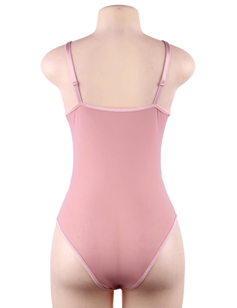 Pink Red Lace High Quality Eyelash Lace Splice Sexy Bodysuit