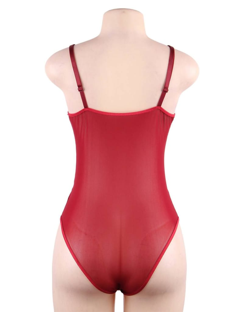 Wine Red Lace High Quality Eyelash Lace Splice Sexy Bodysuit