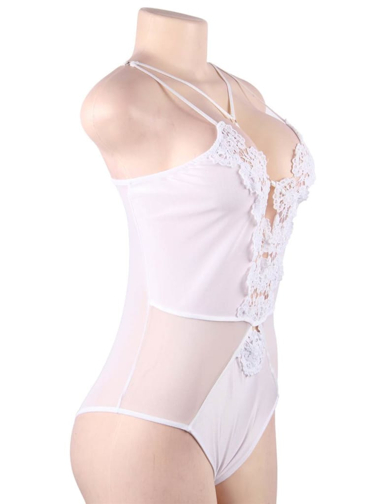 White Lace Sexy Mature Strappy Floral Embroidery Lingerie