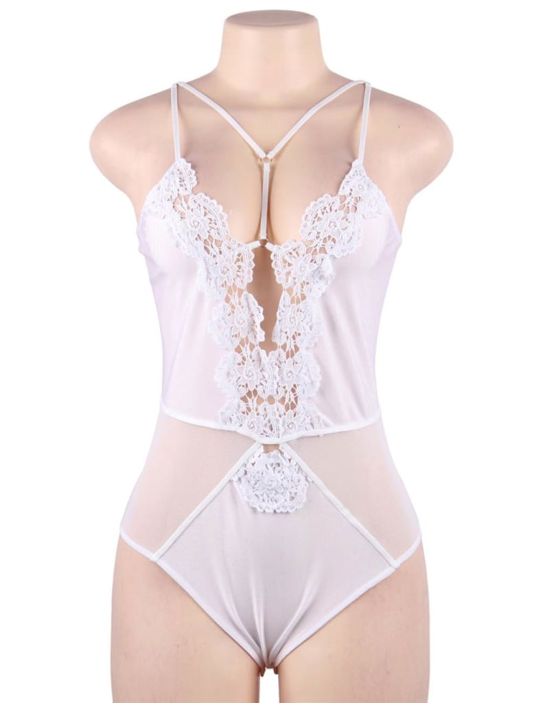 Plus Size White Lace Sexy Mature Strappy Floral Embroidery