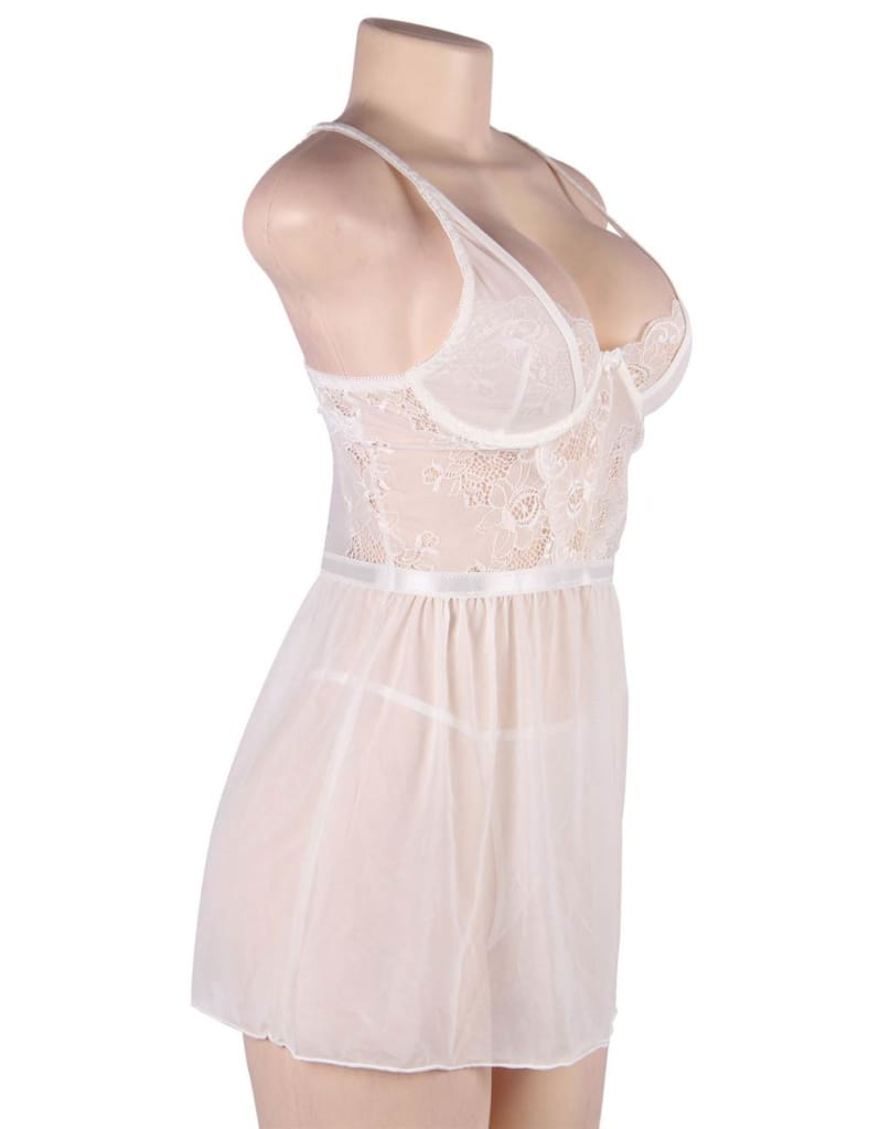 Elegant White Lace Straps Backless Babydoll Set With Steel