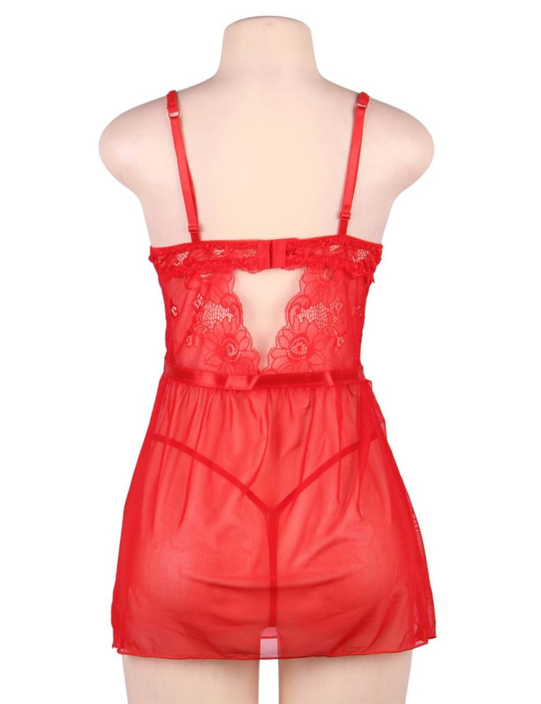 Elegant Red Lace Straps Backless Babydoll Set With Steel