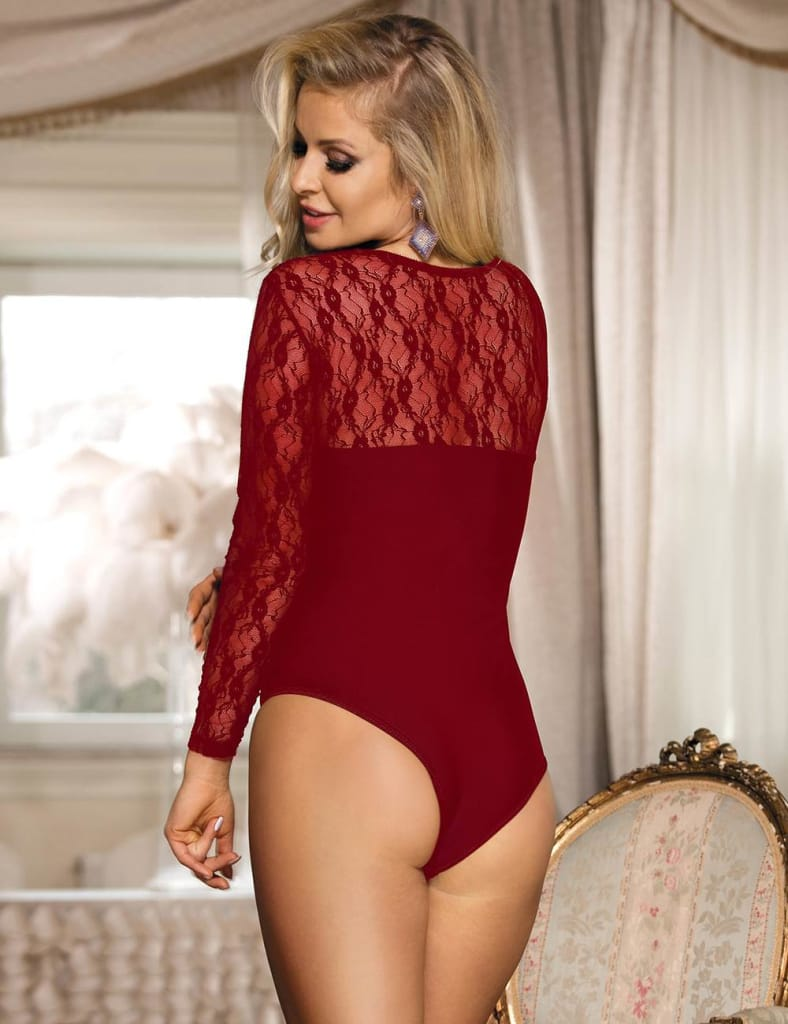 One Piece Long Sleeve Wine Red Lace Teddy