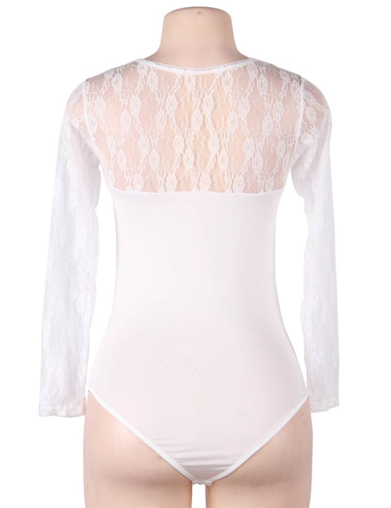 Plus Size White Obstructed Teddy With Long Sleeve