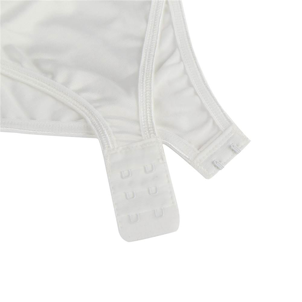 One Piece Long Sleeve White Lace Teddy