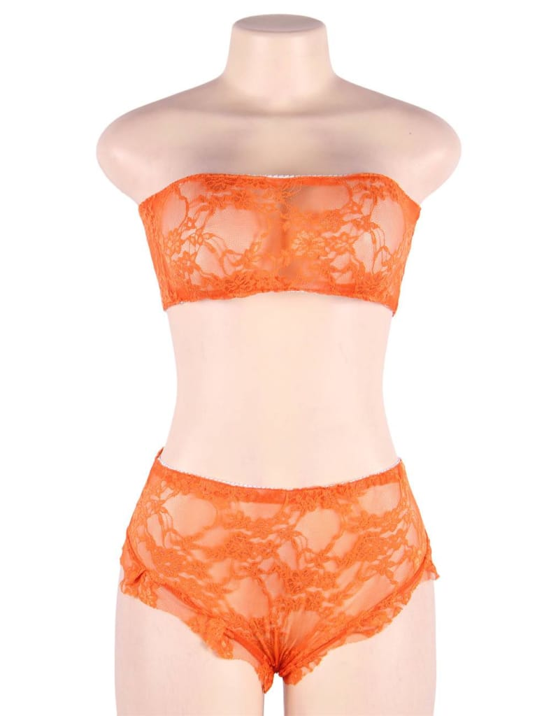 Plus Size Perspective High Waist Orange Full Lace Bra and