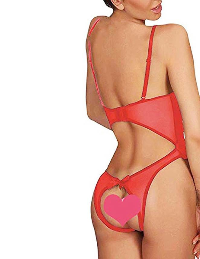 Plus Size Red Open Cup Crotchless One-Piece Teddy