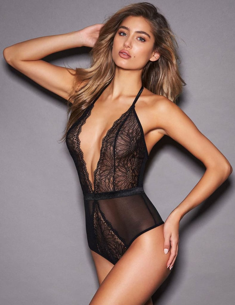 Plus Size Black Lace Hollow Out Deep V Sexy Teddy