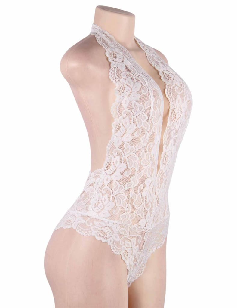 Plus Size White Backless Deep V Exquisite Lace Teddy