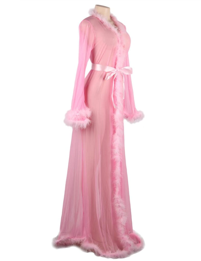 Plus Size Pink Wedding Sexy Unique Robes With Fur