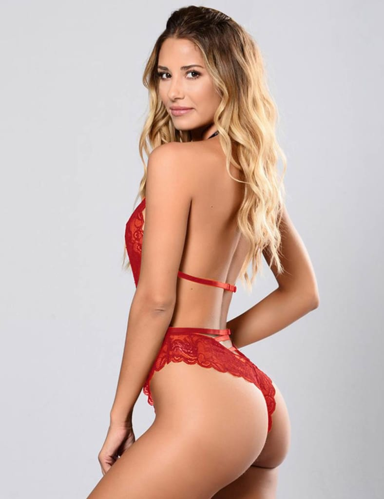 Red High Quality Lace Sexy Hollow-out Conjoined Underwear