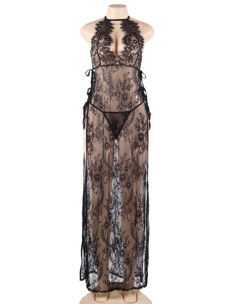 Black Lace Sheer High Split Dress With Thong