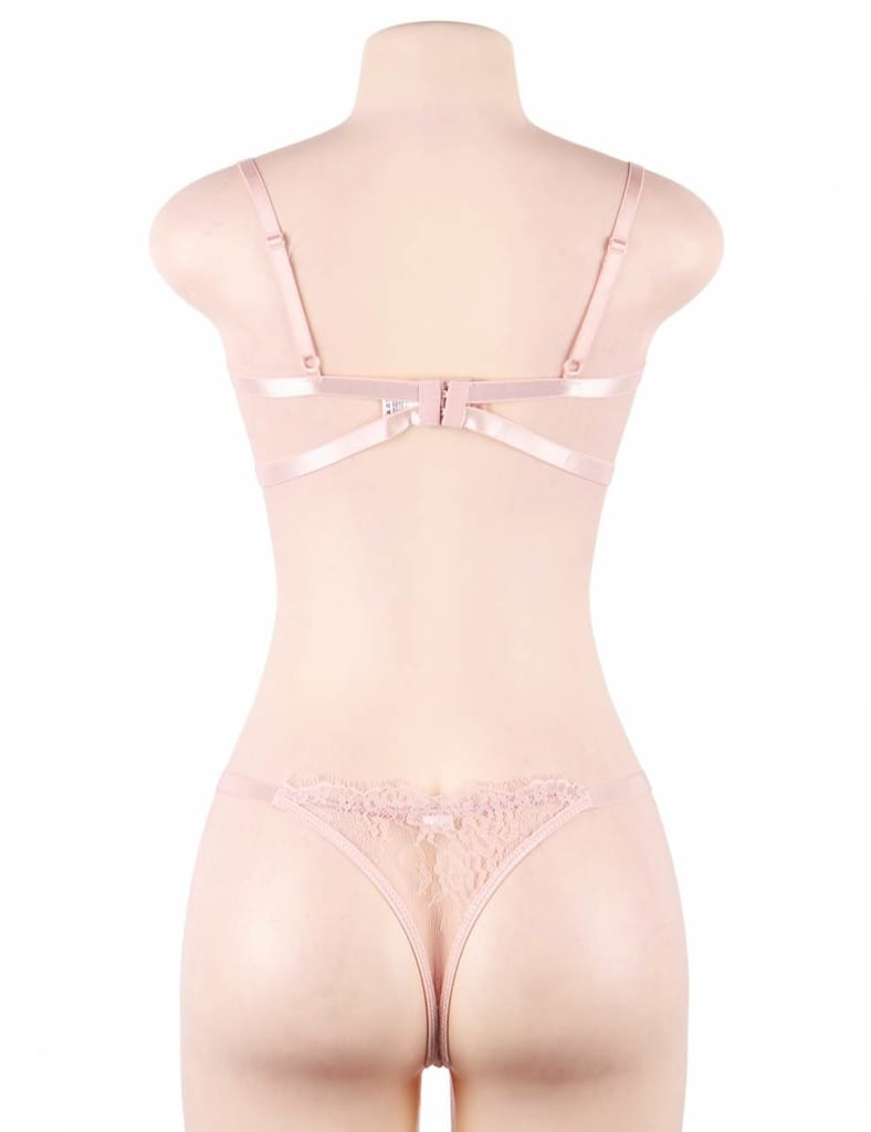 Plus Size Pink High Quality Lingerie Lace Bra Set With
