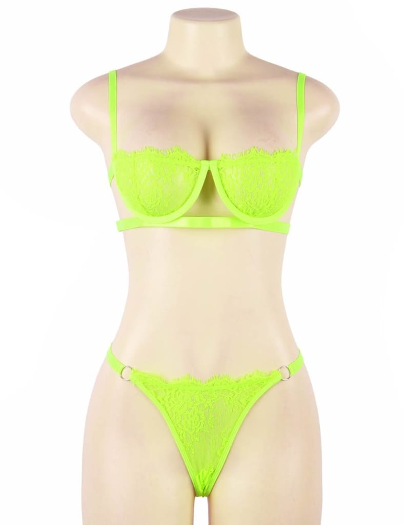 Plus Size Neon High Quality Lingerie Lace Bra Set With