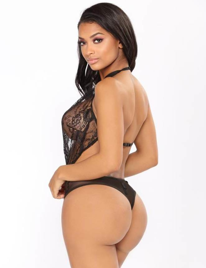 Plus Size Black Backless Deep V Exquisite Lace Teddy
