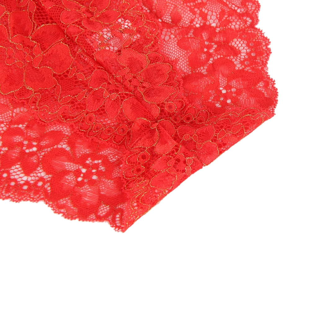 Plus Size Red High Quality Beautiful Lingerie Lace Bra Set