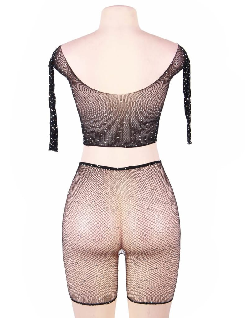 Two Piece Fishnet Rhinestone See Through Long Sleeve Top and