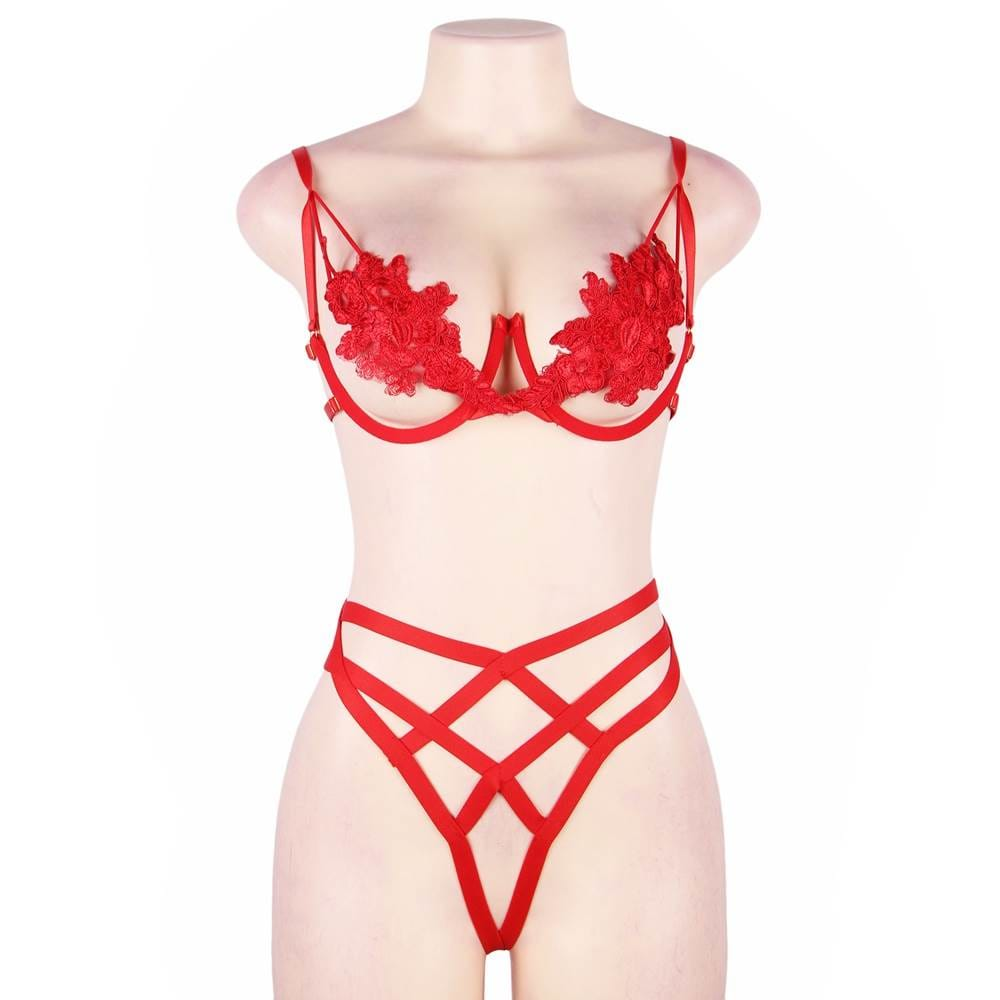 Red Elegant Embroidery Fashion Bra Set With Underwire
