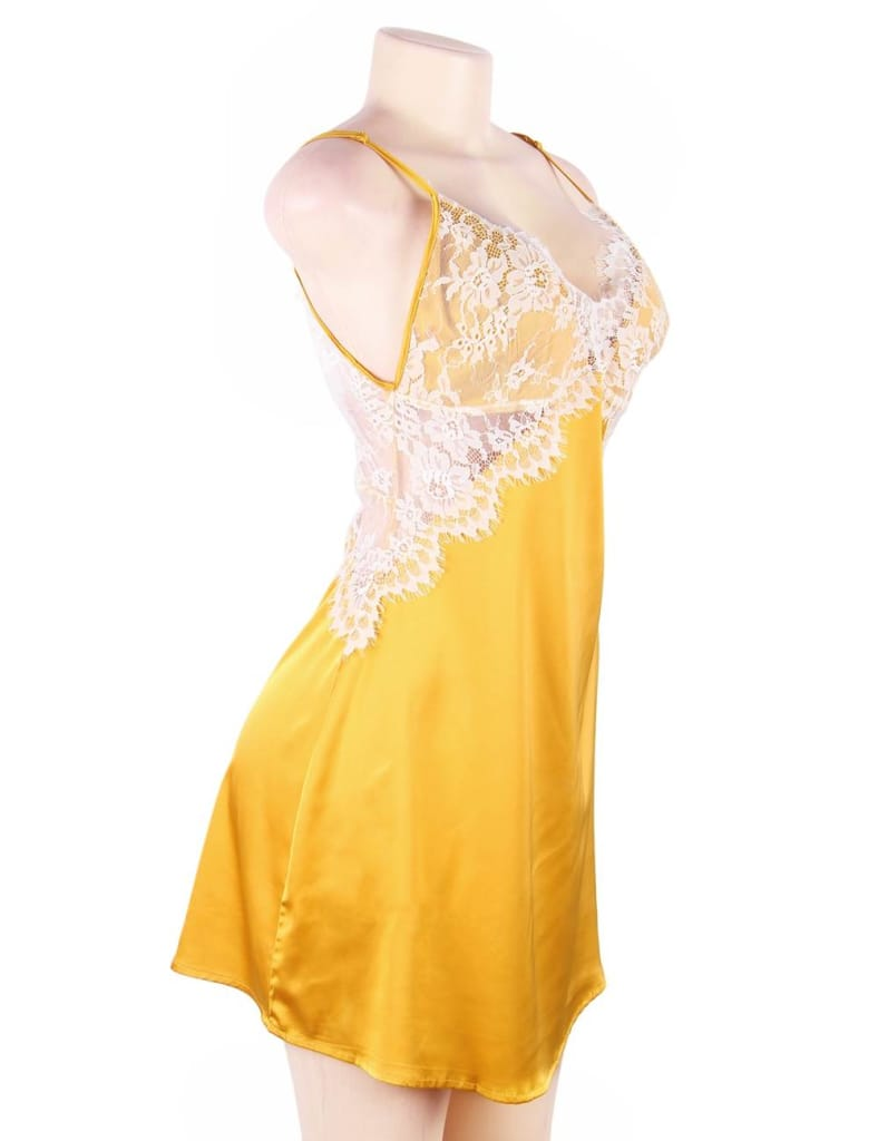 Yellow Sexy High-end Satin Lace Stitching Open Back Ladies