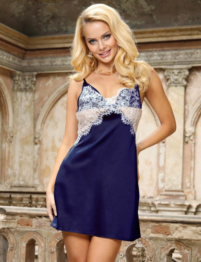 Dark Blue Sexy High-end Satin Lace Stitching Open Back