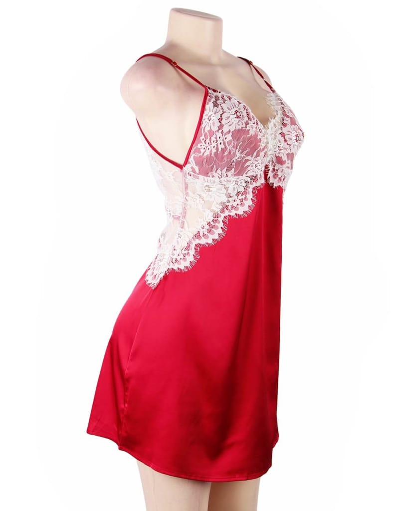 Dark Red Sexy High-end Satin Lace Stitching Open Back Ladies