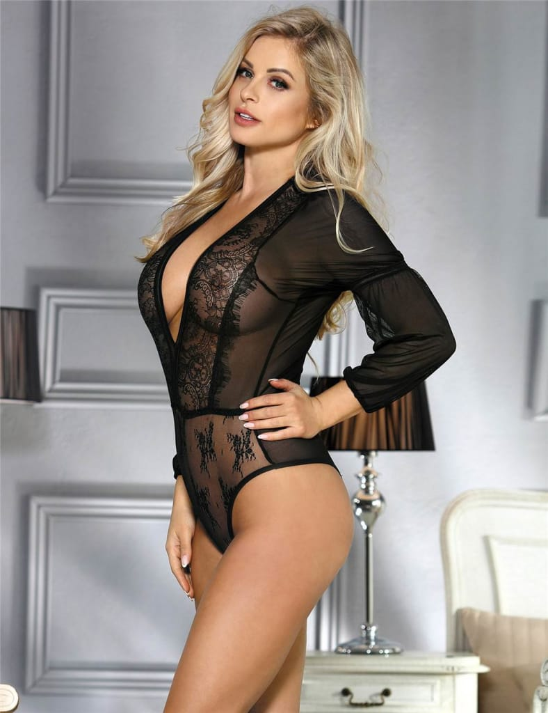 Exquisite Black Lace Long Sleeve Teddy