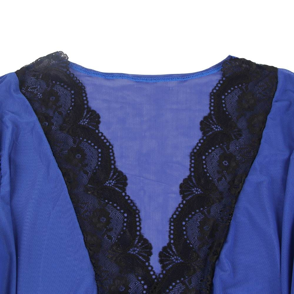 Blue Lace Splicing High-end Delicate Perspective Sleepwear