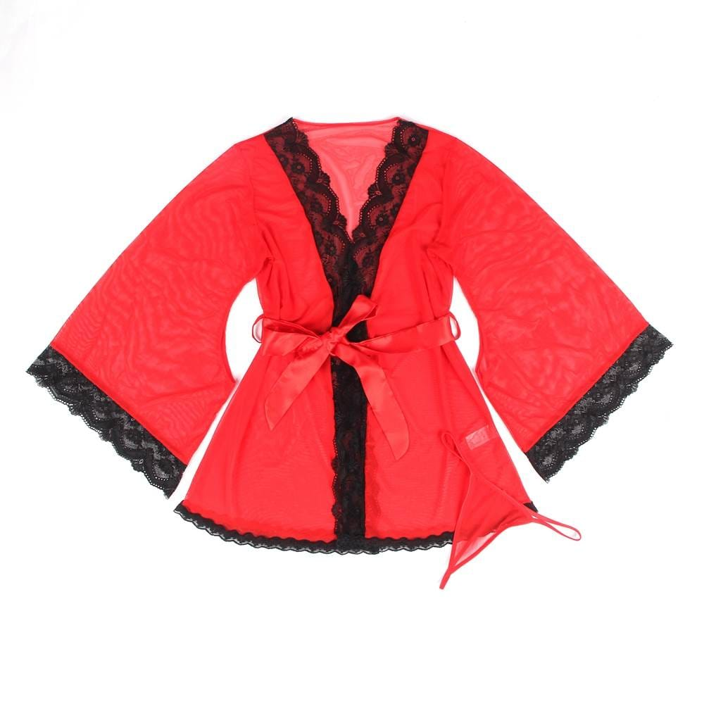 Red Lace Splicing High-end Delicate Perspective Sleepwear